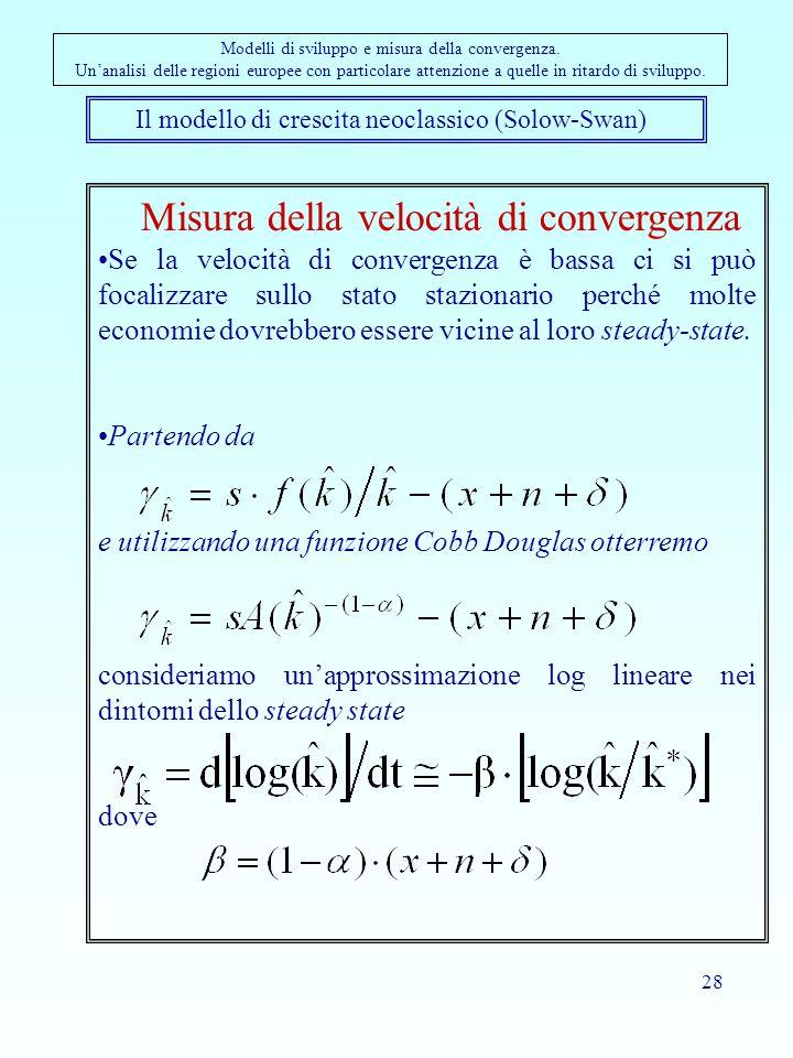 28 Il modello di crescita neoclassico (Solow-Swan) Modelli di sviluppo e misura della convergenza. Un'analisi delle regioni europee con particolare at