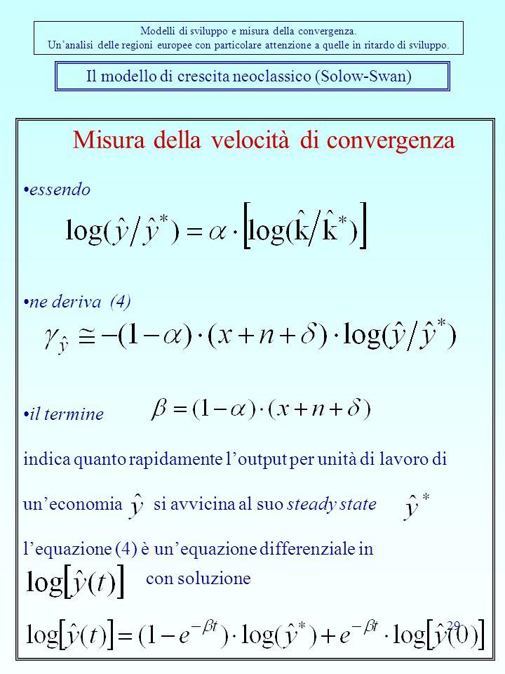29 Il modello di crescita neoclassico (Solow-Swan) Modelli di sviluppo e misura della convergenza. Un'analisi delle regioni europee con particolare at