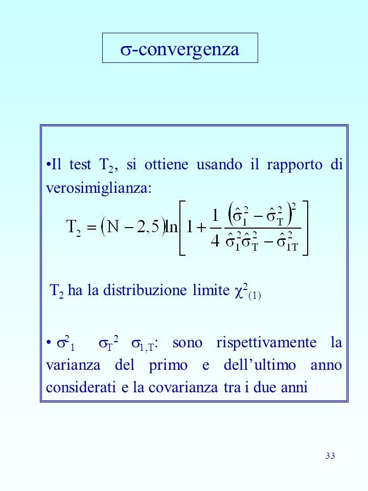 33 Il test T 2, si ottiene usando il rapporto di verosimiglianza: T 2 ha la distribuzione limite  2 (1)  2 1  T 2  1,T : sono rispettivamente la v