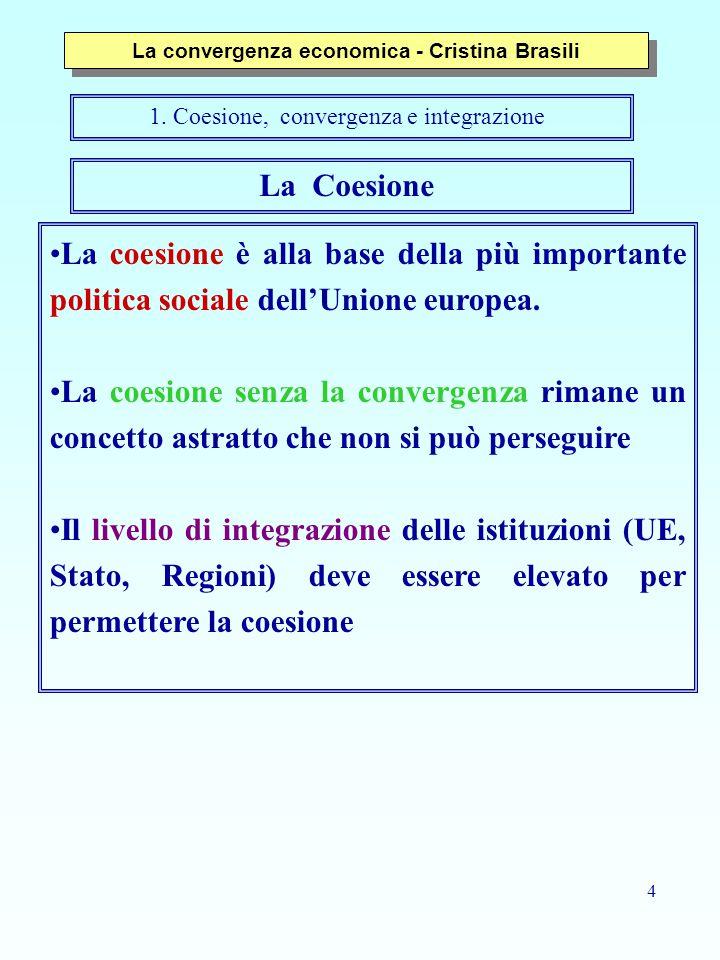 4 La coesione è alla base della più importante politica sociale dell'Unione europea. La coesione senza la convergenza rimane un concetto astratto che