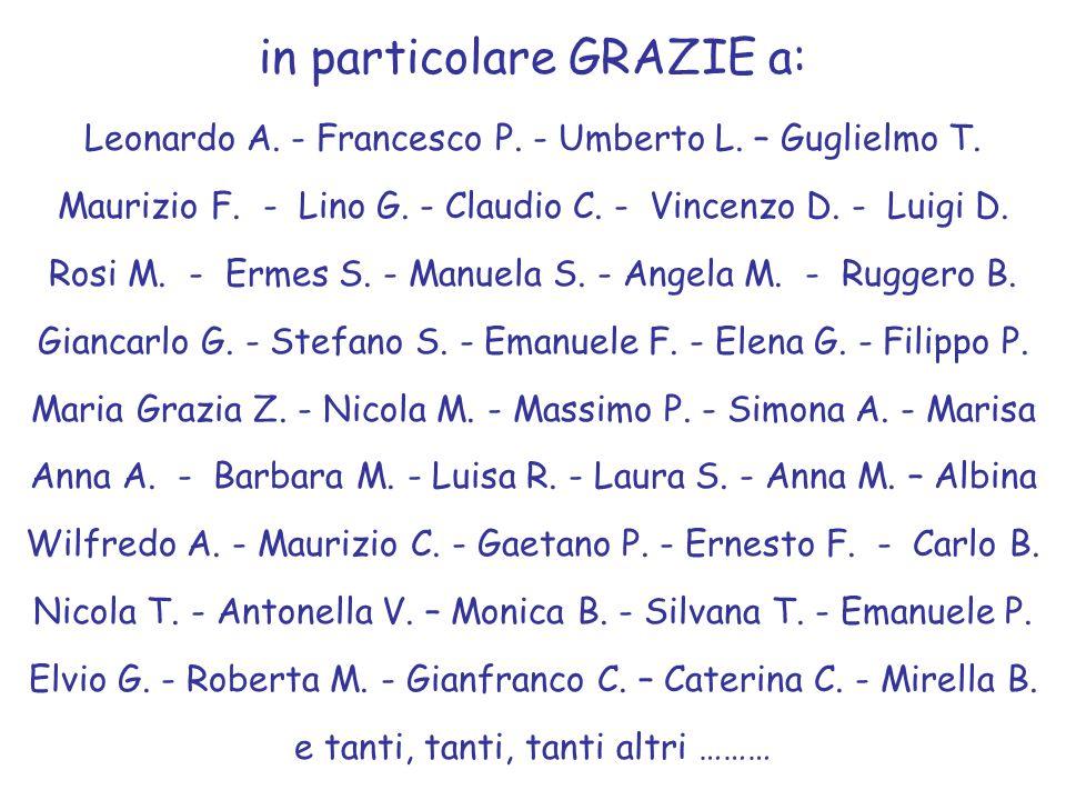 in particolare GRAZIE a: Leonardo A. - Francesco P. - Umberto L. – Guglielmo T. Maurizio F. - Lino G. - Claudio C. - Vincenzo D. - Luigi D. Rosi M. -