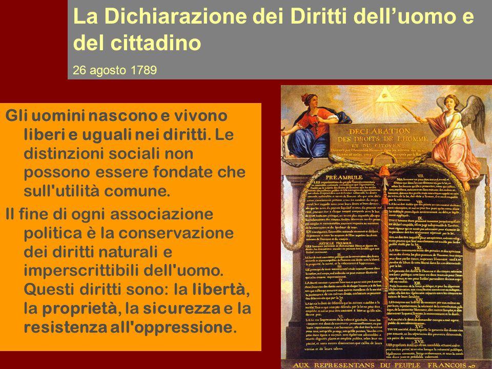 La Dichiarazione dei Diritti dell'uomo e del cittadino 26 agosto 1789 Gli uomini nascono e vivono liberi e uguali nei diritti. Le distinzioni sociali