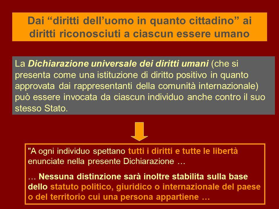 La Dichiarazione universale dei diritti umani (che si presenta come una istituzione di diritto positivo in quanto approvata dai rappresentanti della c