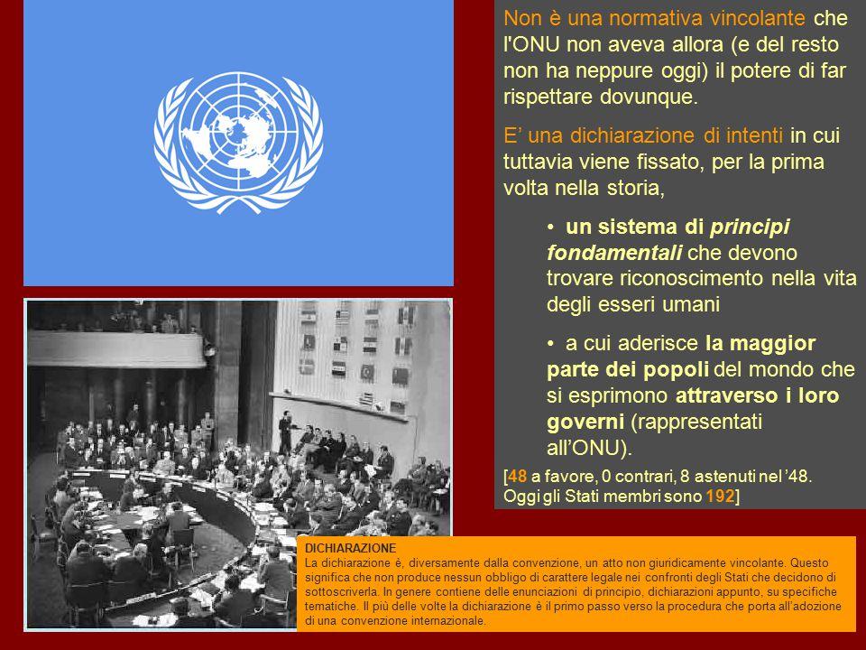 Non è una normativa vincolante che l'ONU non aveva allora (e del resto non ha neppure oggi) il potere di far rispettare dovunque. E' una dichiarazione
