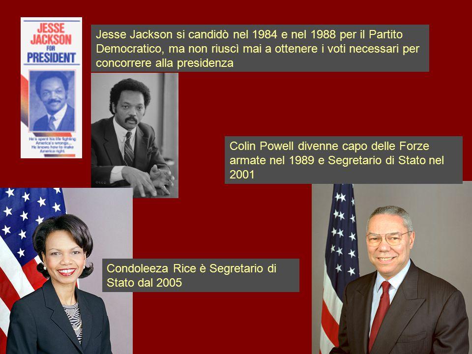 Jesse Jackson si candidò nel 1984 e nel 1988 per il Partito Democratico, ma non riuscì mai a ottenere i voti necessari per concorrere alla presidenza