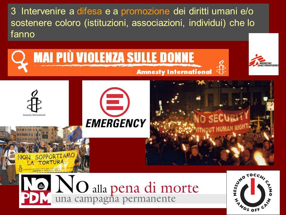 3 Intervenire a difesa e a promozione dei diritti umani e/o sostenere coloro (istituzioni, associazioni, individui) che lo fanno