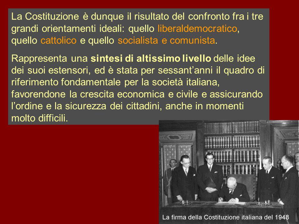 La Costituzione è dunque il risultato del confronto fra i tre grandi orientamenti ideali: quello liberaldemocratico, quello cattolico e quello sociali