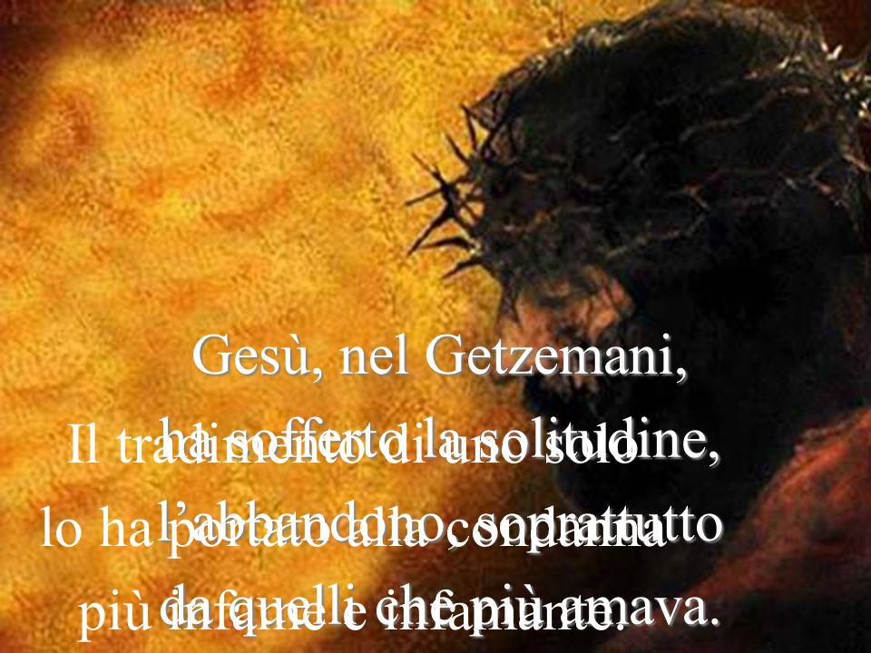 Gesù, nel Getzemani, ha sofferto la solitudine, l'abbandono, soprattutto da quelli che più amava.