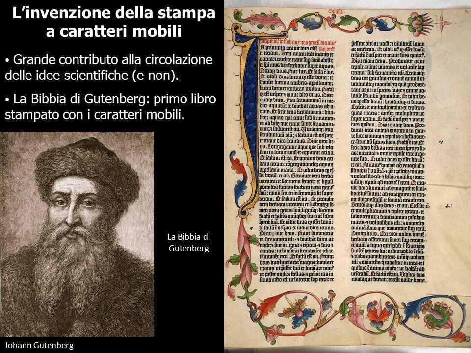 L'invenzione della stampa a caratteri mobili Grande contributo alla circolazione delle idee scientifiche (e non).