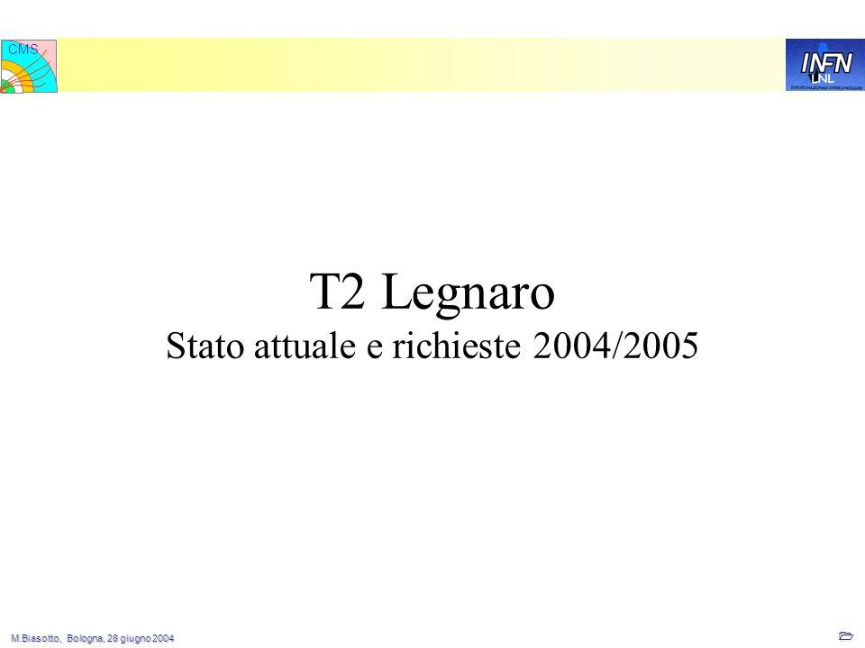 M.Biasotto, Bologna, 28 giugno 2004 M.Biasotto, Bologna, 28 giugno 2004 1 LNL CMS T2 Legnaro Stato attuale e richieste 2004/2005