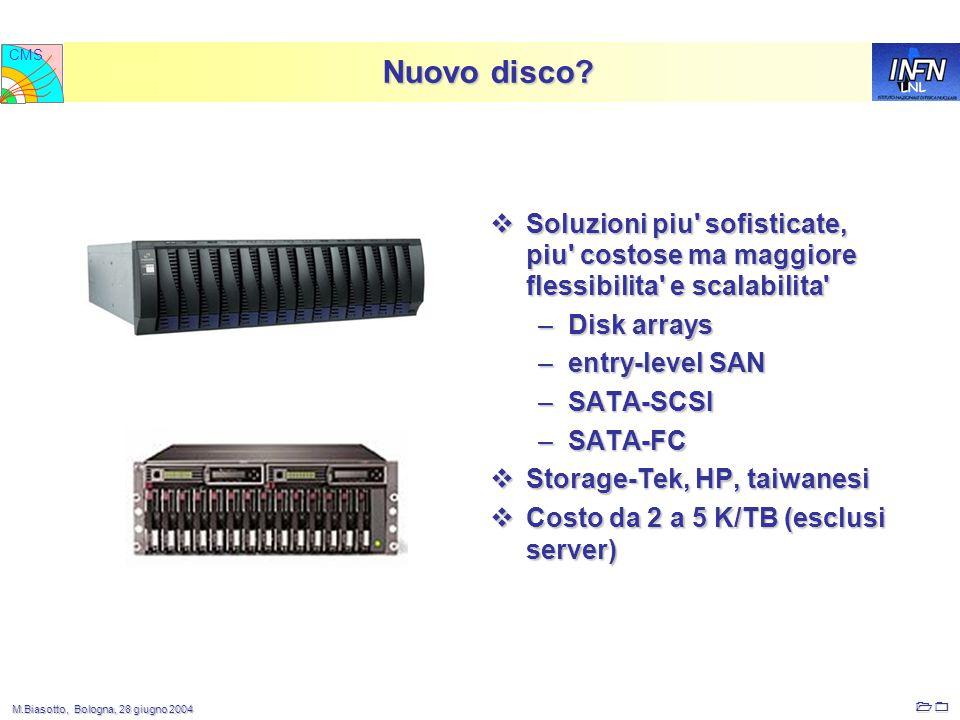 M.Biasotto, Bologna, 28 giugno 2004 M.Biasotto, Bologna, 28 giugno 2004 10 LNL CMS  Soluzioni piu sofisticate, piu costose ma maggiore flessibilita e scalabilita –Disk arrays –entry-level SAN –SATA-SCSI –SATA-FC  Storage-Tek, HP, taiwanesi  Costo da 2 a 5 K/TB (esclusi server) Nuovo disco