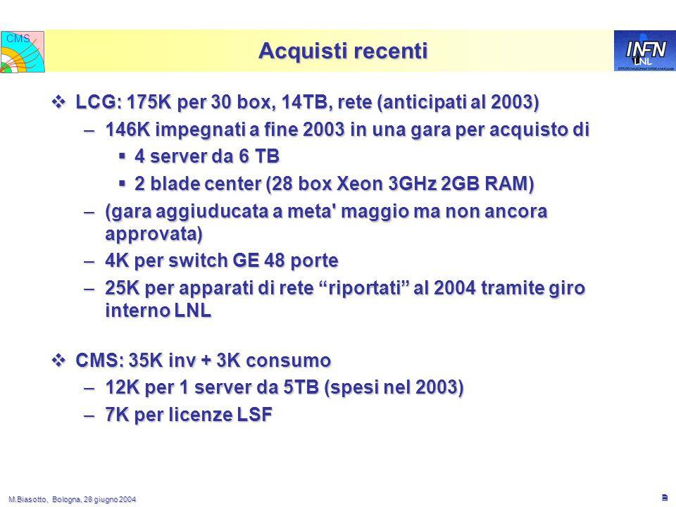 M.Biasotto, Bologna, 28 giugno 2004 M.Biasotto, Bologna, 28 giugno 2004 2 LNL CMS Acquisti recenti  LCG: 175K per 30 box, 14TB, rete (anticipati al 2003) –146K impegnati a fine 2003 in una gara per acquisto di  4 server da 6 TB  2 blade center (28 box Xeon 3GHz 2GB RAM) –(gara aggiuducata a meta maggio ma non ancora approvata) –4K per switch GE 48 porte –25K per apparati di rete riportati al 2004 tramite giro interno LNL  CMS: 35K inv + 3K consumo –12K per 1 server da 5TB (spesi nel 2003) –7K per licenze LSF