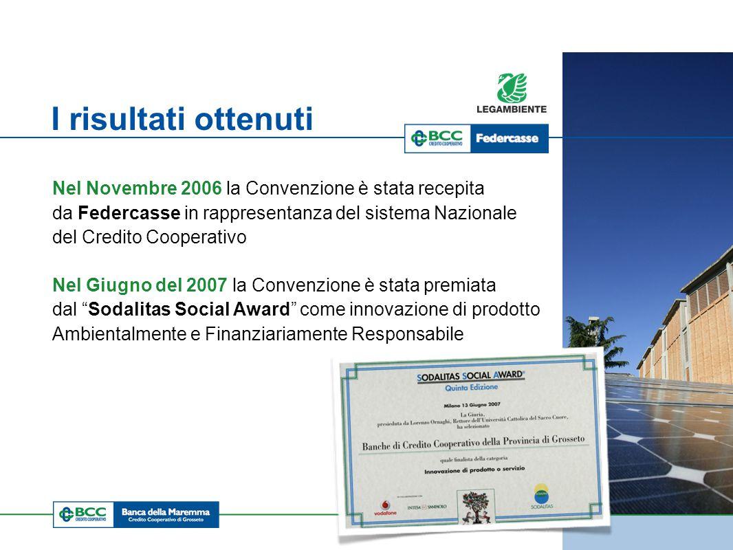 BRUXELLES 2009 I risultati ottenuti Nel Novembre 2006 la Convenzione è stata recepita da Federcasse in rappresentanza del sistema Nazionale del Credito Cooperativo Nel Giugno del 2007 la Convenzione è stata premiata dal Sodalitas Social Award come innovazione di prodotto Ambientalmente e Finanziariamente Responsabile