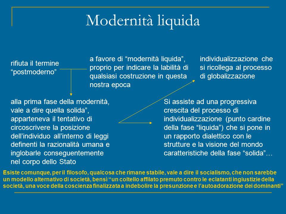 """Modernità liquida rifiuta il termine """"postmoderno"""" a favore di """"modernità liquida"""", proprio per indicare la labilità di qualsiasi costruzione in quest"""