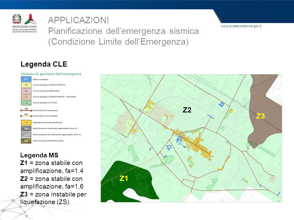www.protezionecivile.gov.it Legenda MS Z1 = zona stabile con amplificazione, fa=1.4 Z2 = zona stabile con amplificazione, fa=1.6 Z3 = zona instabile p