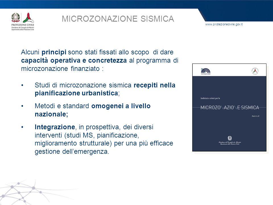www.protezionecivile.gov.it Alcuni principi sono stati fissati allo scopo di dare capacità operativa e concretezza al programma di microzonazione fina