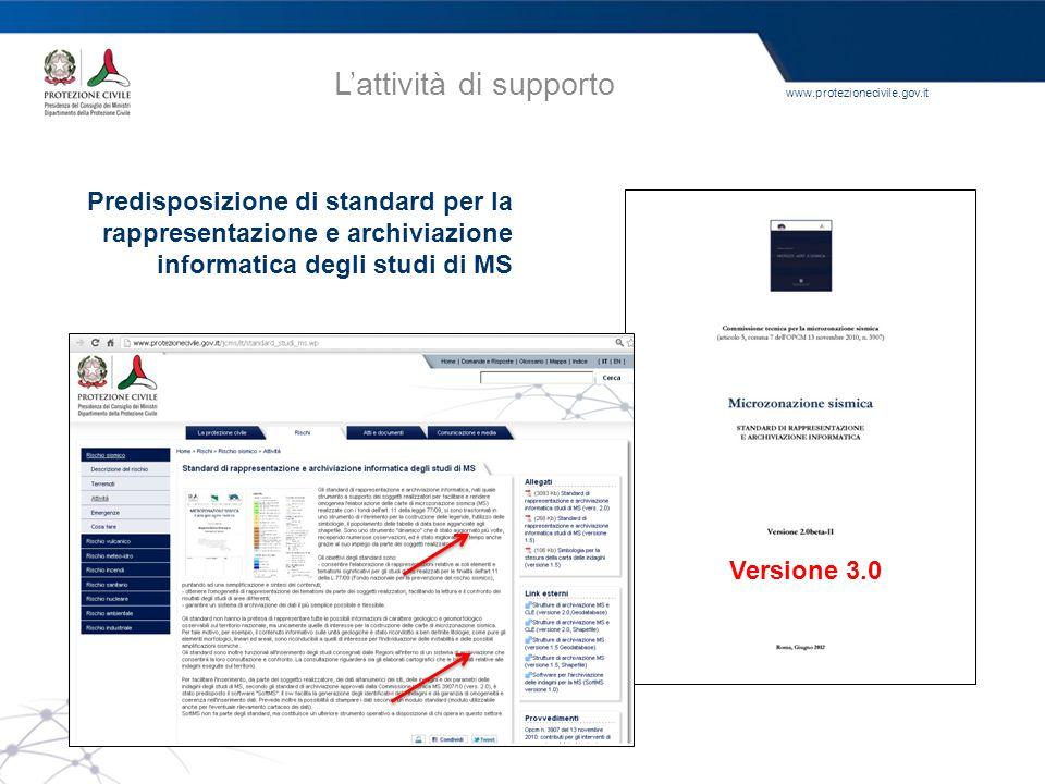 www.protezionecivile.gov.it L'attività di supporto Predisposizione di standard per la rappresentazione e archiviazione informatica degli studi di MS V