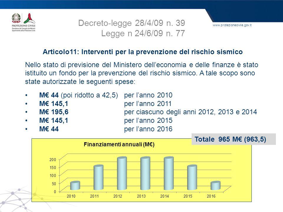 www.protezionecivile.gov.it Articolo11: Interventi per la prevenzione del rischio sismico Nello stato di previsione del Ministero dell'economia e dell
