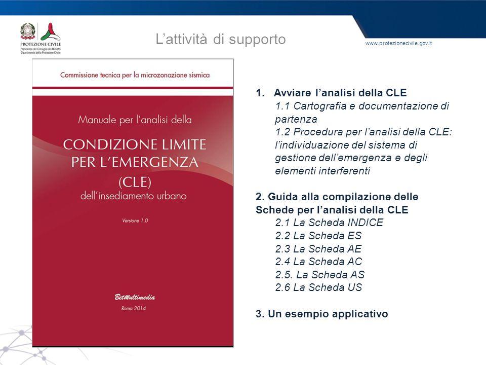 www.protezionecivile.gov.it L'attività di supporto 1.Avviare l'analisi della CLE 1.1 Cartografia e documentazione di partenza 1.2 Procedura per l'anal