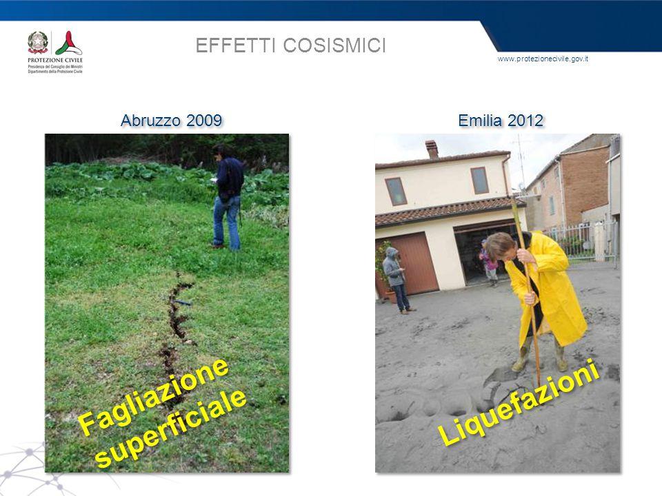 www.protezionecivile.gov.it EFFETTI COSISMICI Abruzzo 2009 Emilia 2012 Fagliazione superficiale Fagliazione superficiale Liquefazioni