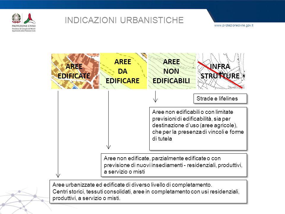 www.protezionecivile.gov.it INDICAZIONI URBANISTICHE AREE EDIFICATE AREE DA EDIFICARE AREE NON EDIFICABILI INFRA STRUTTURE Aree urbanizzate ed edifica