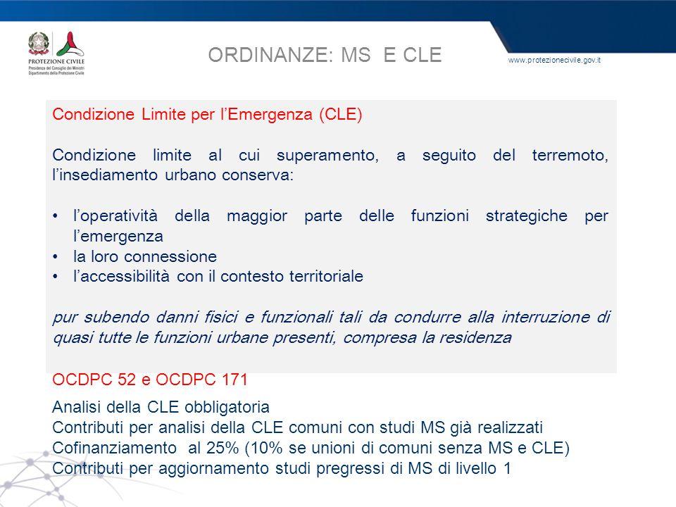 www.protezionecivile.gov.it MS nei comuni con ag ≥ 0,125 g Cofinanziamento al 50% dei contributi Studi MS almeno di livello 1 Commissione tecnica inte