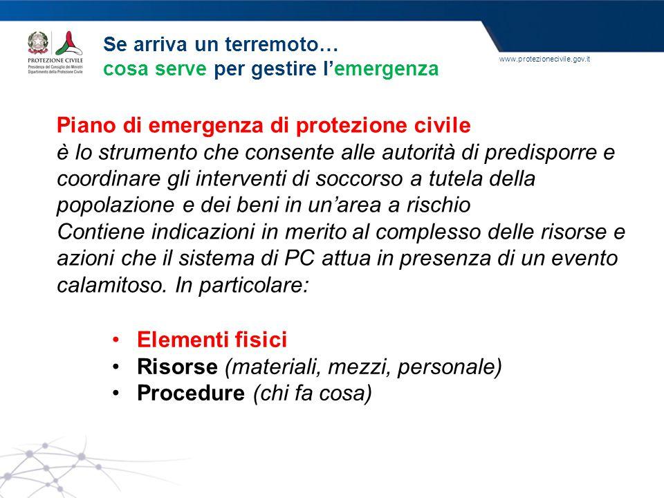 www.protezionecivile.gov.it Piano di emergenza di protezione civile è lo strumento che consente alle autorità di predisporre e coordinare gli interven