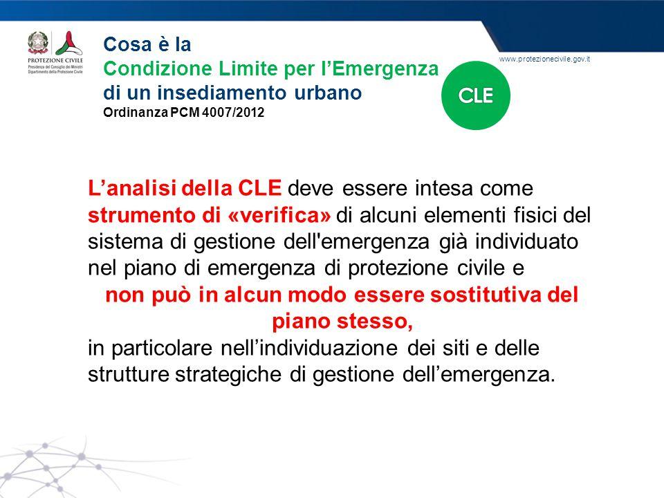 www.protezionecivile.gov.it L'attività di supporto 1.Avviare l'analisi della CLE 1.1 Cartografia e documentazione di partenza 1.2 Procedura per l'analisi della CLE: l'individuazione del sistema di gestione dell'emergenza e degli elementi interferenti 2.