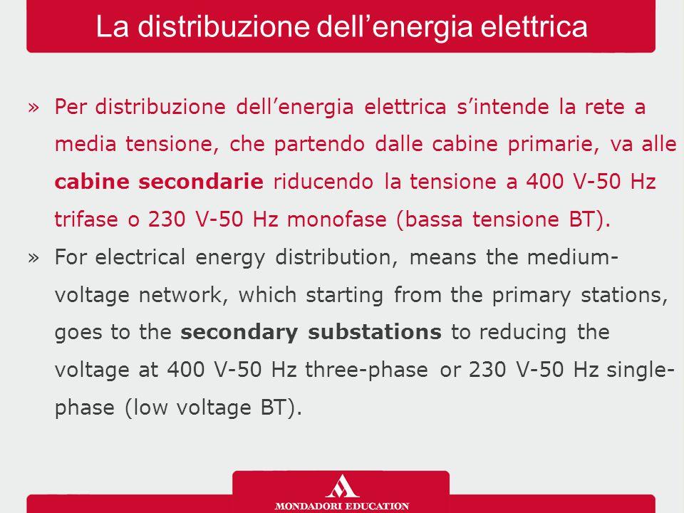 »Per distribuzione dell'energia elettrica s'intende la rete a media tensione, che partendo dalle cabine primarie, va alle cabine secondarie riducendo la tensione a 400 V-50 Hz trifase o 230 V-50 Hz monofase (bassa tensione BT).