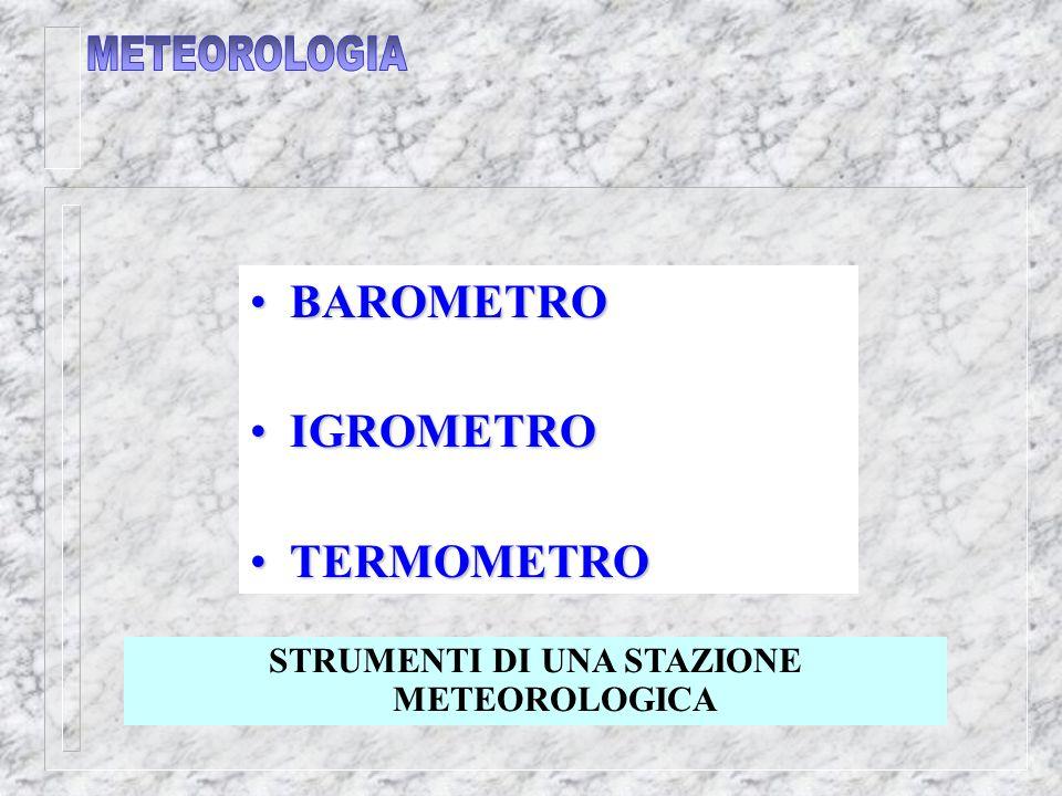 STRUMENTI DI UNA STAZIONE METEOROLOGICA BAROMETRO BAROMETRO IGROMETRO IGROMETRO TERMOMETRO TERMOMETRO