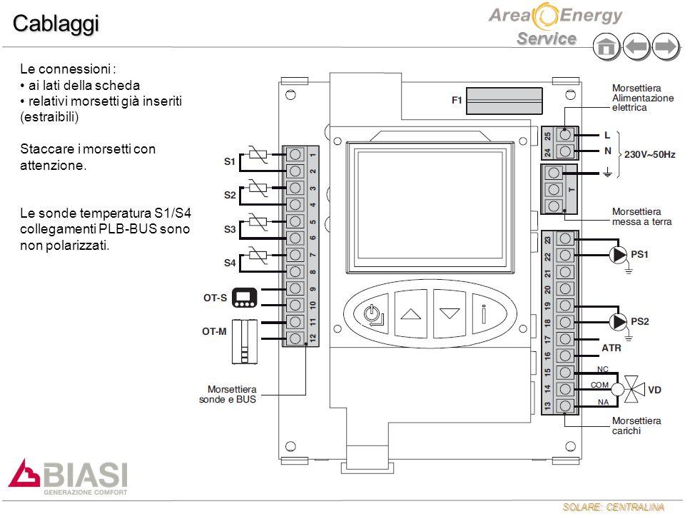 SOLARE: CENTRALINA Service Funzionamento Modulazione Pompa Solare MODALITA' A GIRI FISSI parametro 24 = 0 ( di default ) la pompa lavora in on/off secondo i normali algoritmi di attivazione/disattivazione della pompa solare MODALITA' MODULANTE parametro 24 = 1 attivabile solo nel caso sia presente una sola pompa solare e la sonda ritorno collettore solare nel primo secondo di funzionamento la pompa lavora alla velocità 5 ( massima potenza ) per poi passare di stato ( modulazione )