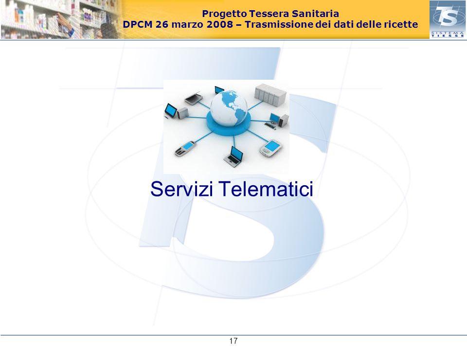 Progetto Tessera Sanitaria DPCM 26 marzo 2008 – Trasmissione dei dati delle ricette Servizi Telematici 17