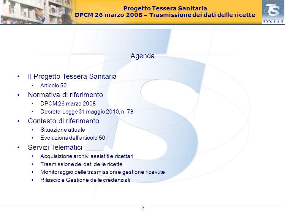 Progetto Tessera Sanitaria DPCM 26 marzo 2008 – Trasmissione dei dati delle ricette Agenda Il Progetto Tessera Sanitaria Articolo 50 Normativa di rife