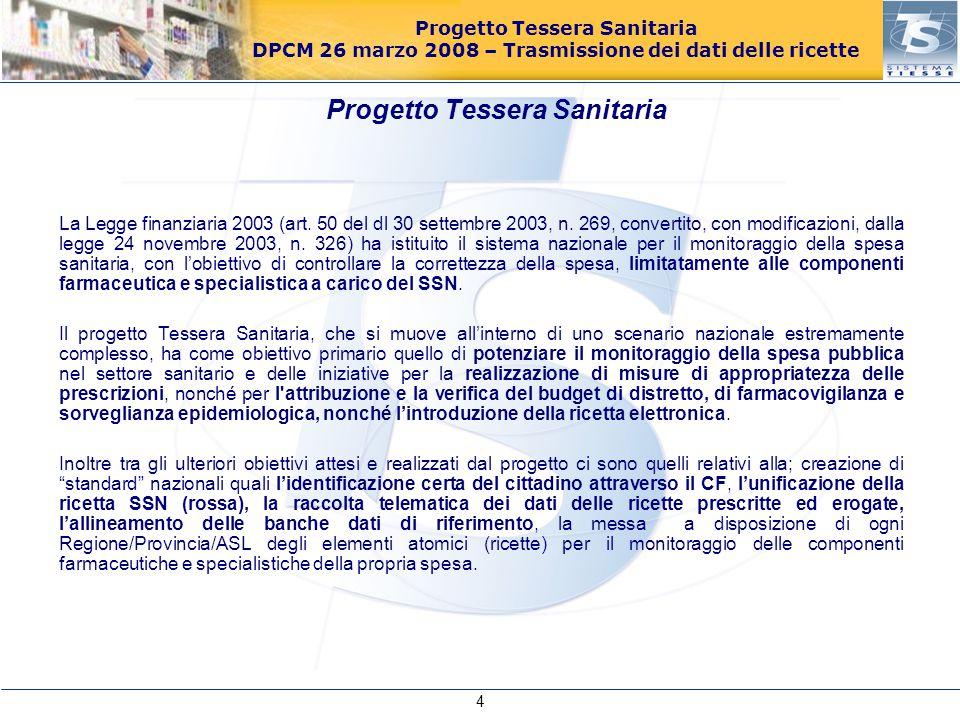 Progetto Tessera Sanitaria DPCM 26 marzo 2008 – Trasmissione dei dati delle ricette La Legge finanziaria 2003 (art. 50 del dl 30 settembre 2003, n. 26