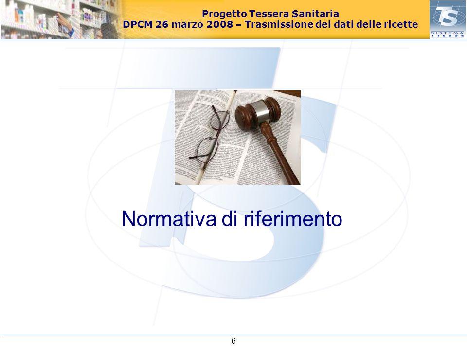 Progetto Tessera Sanitaria DPCM 26 marzo 2008 – Trasmissione dei dati delle ricette Il comma 810 della Legge 27 dicembre 2006, n.