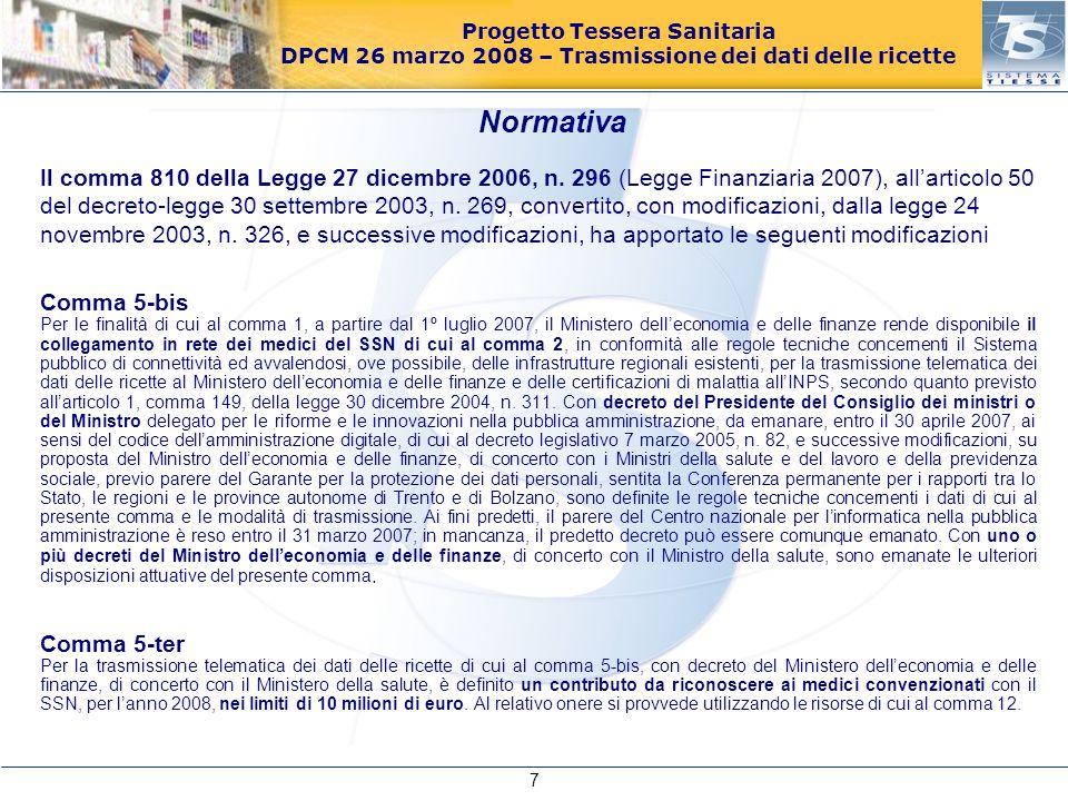Progetto Tessera Sanitaria DPCM 26 marzo 2008 – Trasmissione dei dati delle ricette Il comma 810 della Legge 27 dicembre 2006, n. 296 (Legge Finanziar
