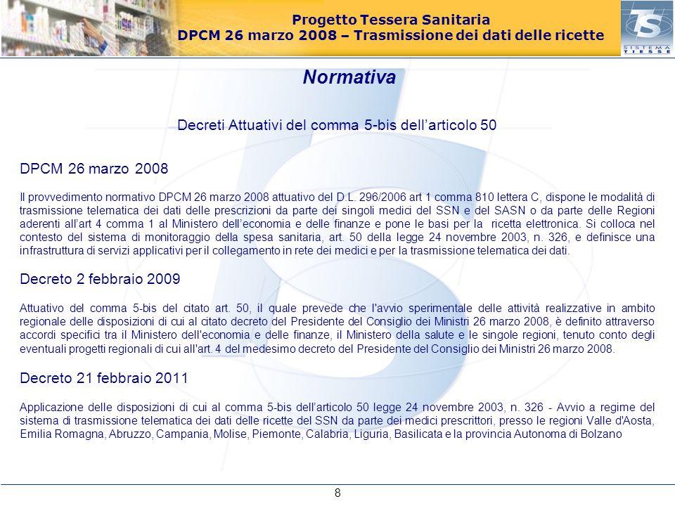 Progetto Tessera Sanitaria DPCM 26 marzo 2008 – Trasmissione dei dati delle ricette Decreti Attuativi del comma 5-ter dell'articolo 50 Decreto 16 dicembre 2008 Concernente la definizione del contributo pro capite annuo da riconoscere ai medici prescrittori convenzionati con il SSN.