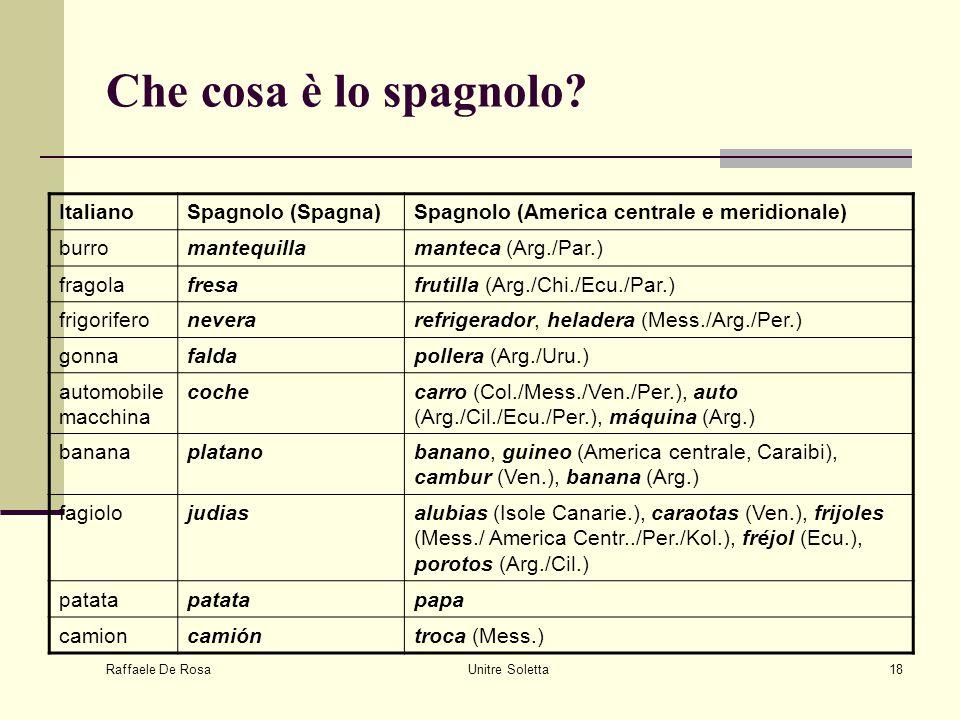 Raffaele De Rosa Unitre Soletta18 Che cosa è lo spagnolo? ItalianoSpagnolo (Spagna)Spagnolo (America centrale e meridionale) burromantequillamanteca (