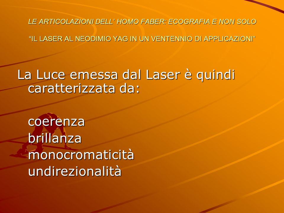 La Luce emessa dal Laser è quindi caratterizzata da: coerenzabrillanzamonocromaticitàundirezionalità