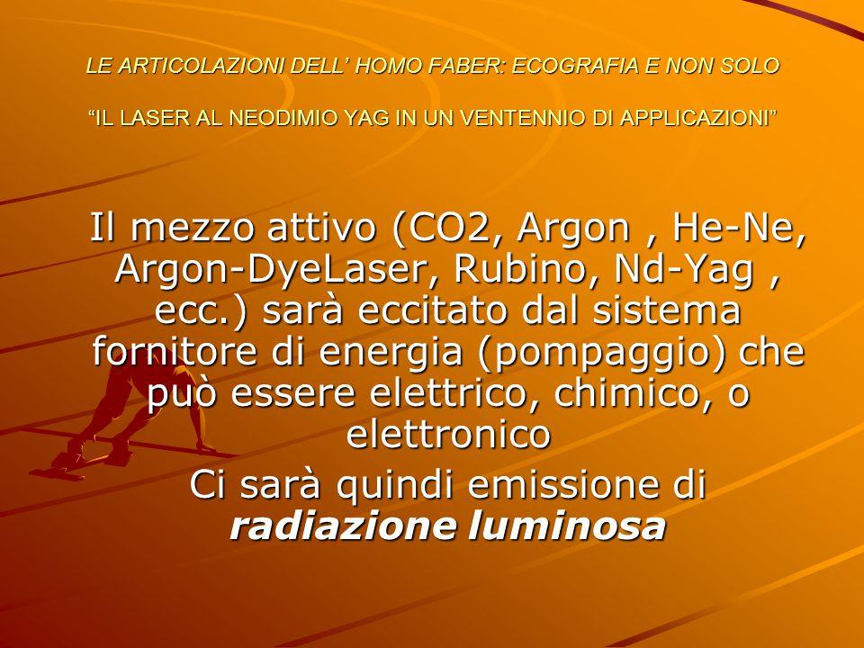 """LE ARTICOLAZIONI DELL' HOMO FABER: ECOGRAFIA E NON SOLO """"IL LASER AL NEODIMIO YAG IN UN VENTENNIO DI APPLICAZIONI"""" Il mezzo attivo (CO2, Argon, He-Ne,"""
