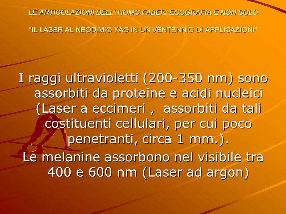 """LE ARTICOLAZIONI DELL' HOMO FABER: ECOGRAFIA E NON SOLO """"IL LASER AL NEODIMIO YAG IN UN VENTENNIO DI APPLICAZIONI"""" I raggi ultravioletti (200-350 nm)"""