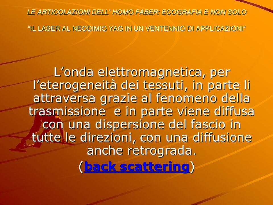 L'onda elettromagnetica, per l'eterogeneità dei tessuti, in parte li attraversa grazie al fenomeno della trasmissione e in parte viene diffusa con una