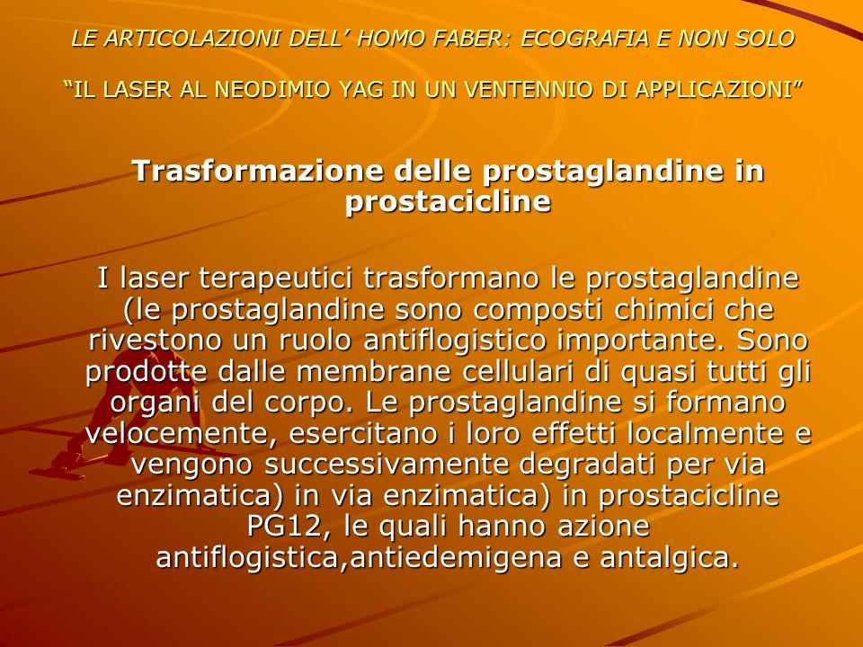 """LE ARTICOLAZIONI DELL' HOMO FABER: ECOGRAFIA E NON SOLO """"IL LASER AL NEODIMIO YAG IN UN VENTENNIO DI APPLICAZIONI"""" Trasformazione delle prostaglandine"""