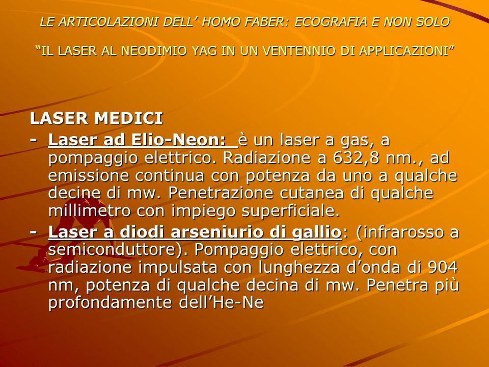 """LE ARTICOLAZIONI DELL' HOMO FABER: ECOGRAFIA E NON SOLO """"IL LASER AL NEODIMIO YAG IN UN VENTENNIO DI APPLICAZIONI"""" LASER MEDICI -Laser ad Elio-Neon: è"""