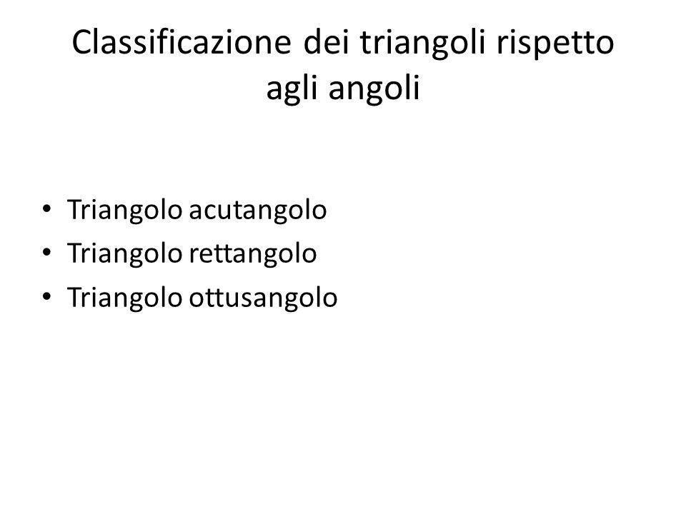 Classificazione dei triangoli rispetto agli angoli Triangolo acutangolo Triangolo rettangolo Triangolo ottusangolo
