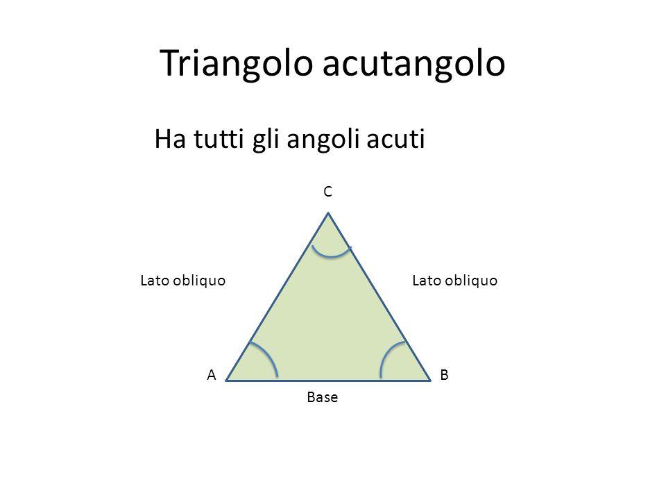 Triangolo acutangolo Ha tutti gli angoli acuti AB C Base Lato obliquo