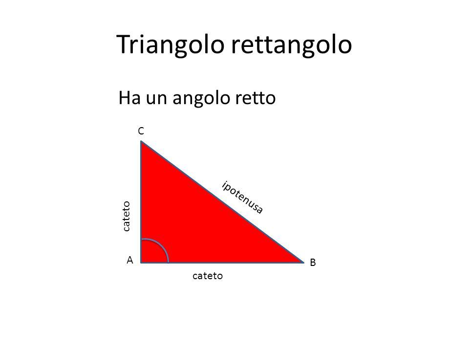 Triangolo rettangolo Ha un angolo retto A B C cateto ipotenusa cateto
