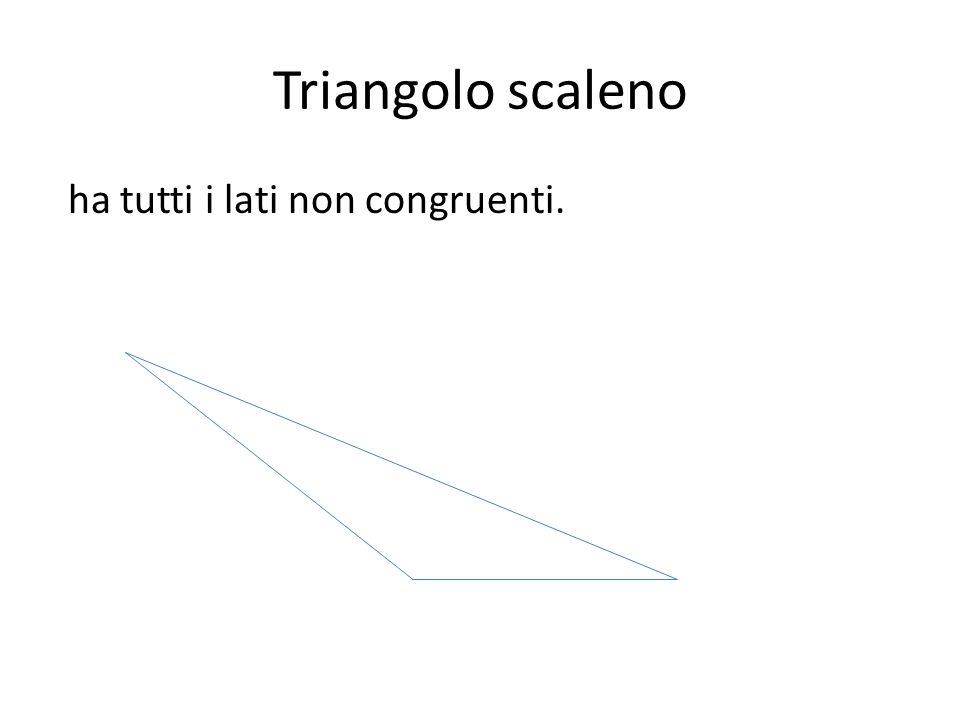 Triangolo scaleno ha tutti i lati non congruenti.
