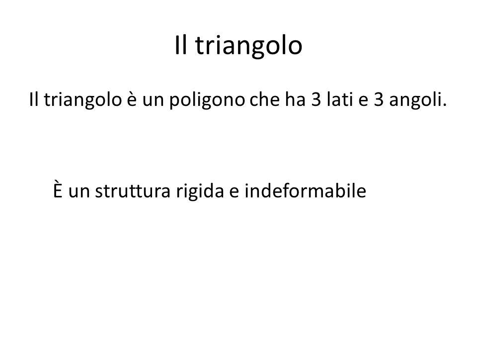 Il triangolo Il triangolo è un poligono che ha 3 lati e 3 angoli. È un struttura rigida e indeformabile
