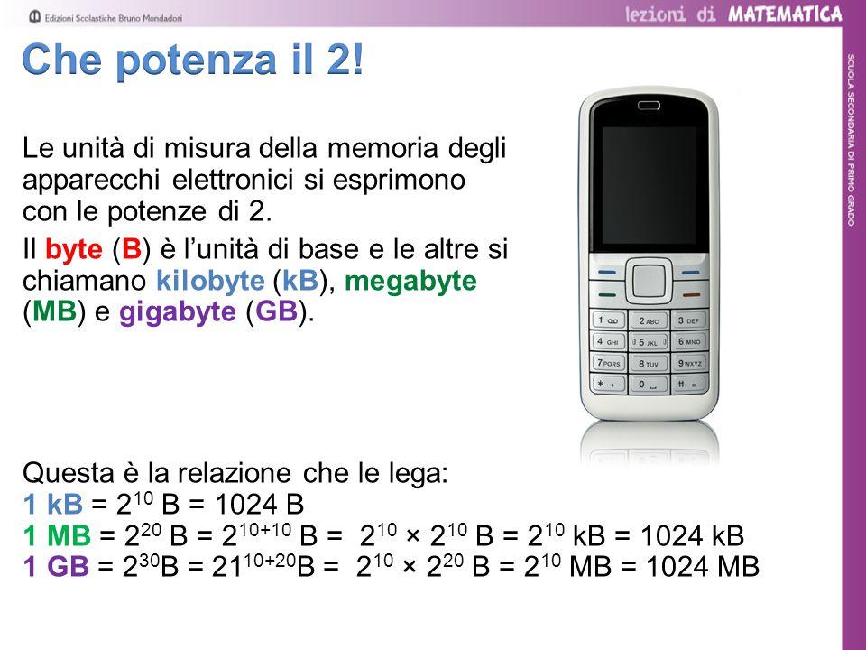 Le unità di misura della memoria degli apparecchi elettronici si esprimono con le potenze di 2.